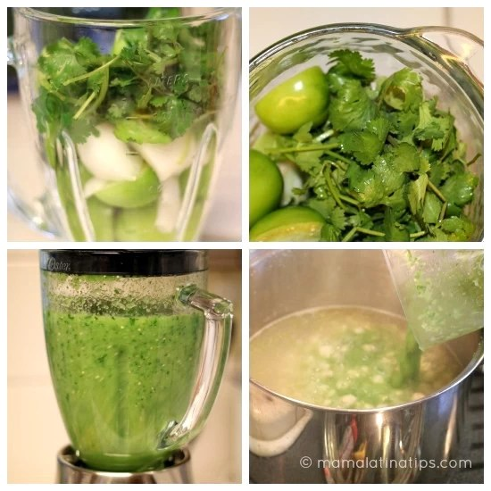 Green salsa for pozole step by step