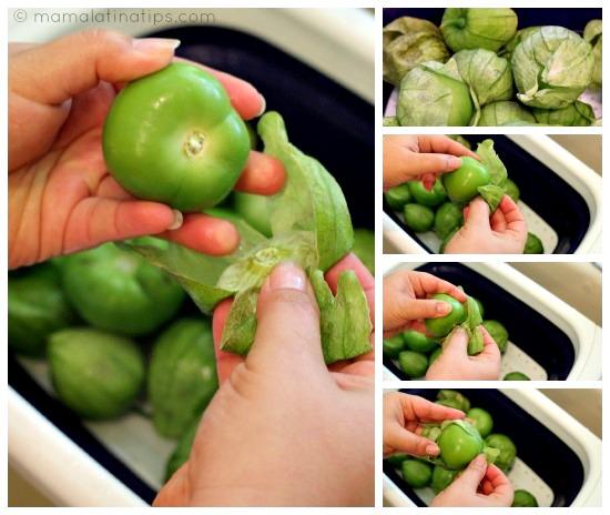 pelando tomatillos