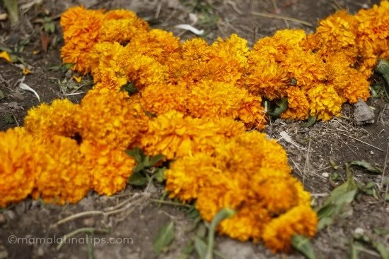 Cross made of marigolds