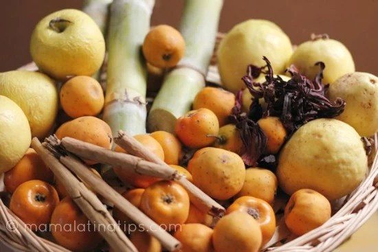 tejocotes, sugarcane, guava, cinnamon, apples and hibiscus flowers