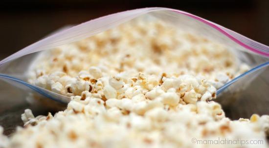 popcorn on Ziploc bag