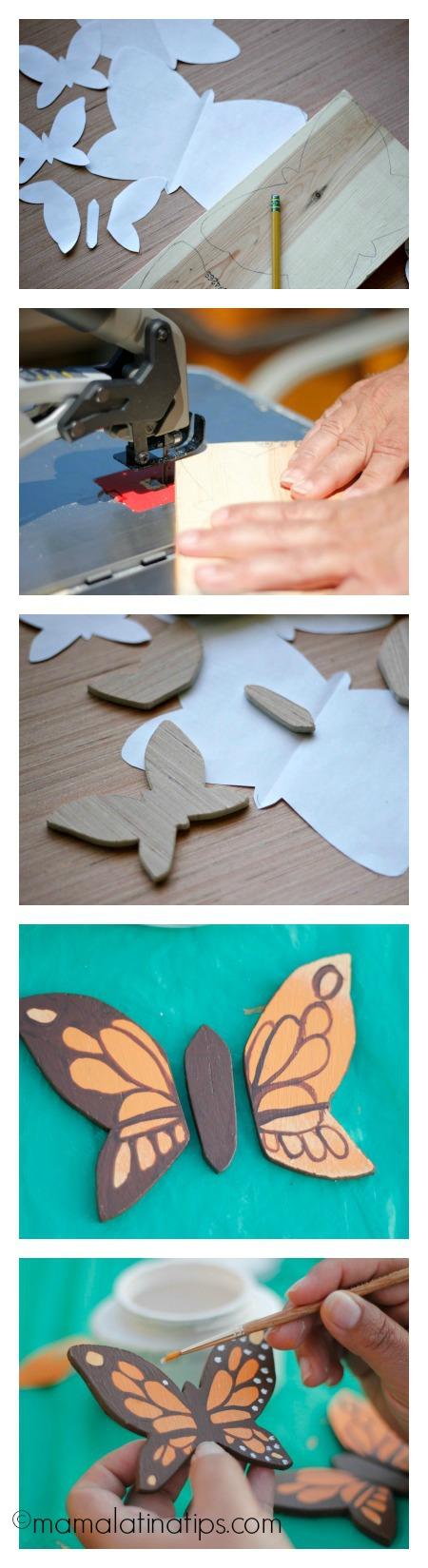 How to make wooden butterflies - mamalatinatips.com