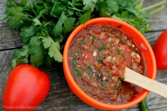 Chunky red salsa with cilantro