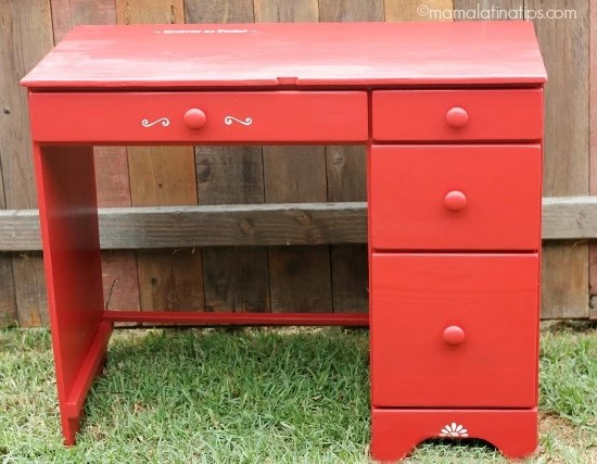 Red desk after
