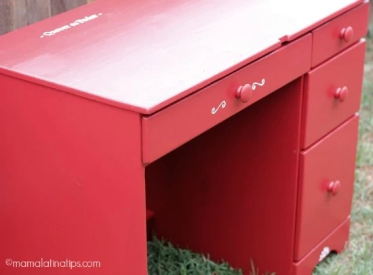 Small red desk