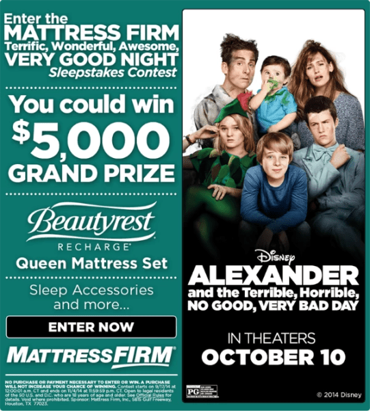 Matress Firm and Alexander sweepstakes