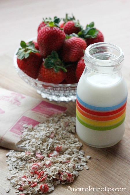 Avena, fresas y leche