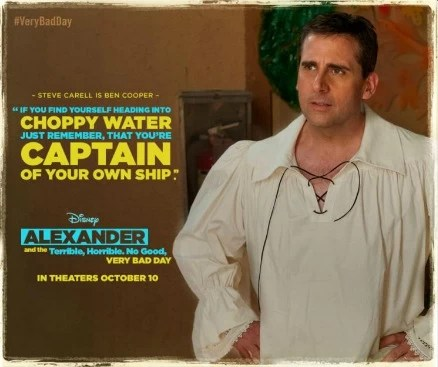 Steve Carell is Ben Cooper in the Disney Movie Alexander and the Terrible, Horrible, No Good, Very Bad Day