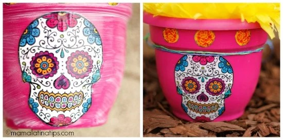 Day of the Dead pots before and after mod podge