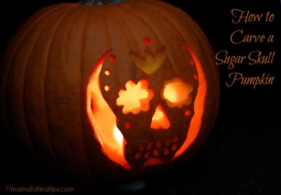how to carve a sugar skull pumpkin