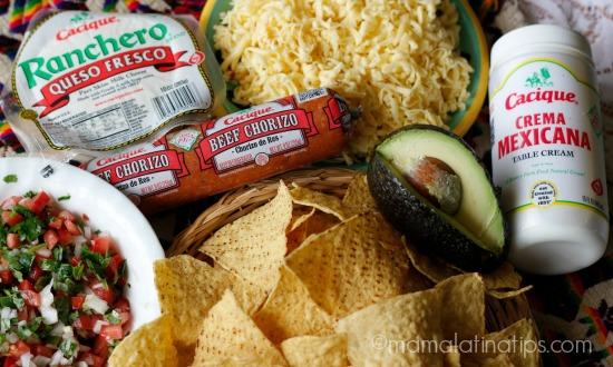 nachos de chorizo a la mexicana ingredientes