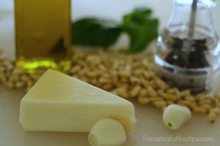Cheese, pine nuts, garlic, oil, cheese, - pesto by MamaLatinaTips.com