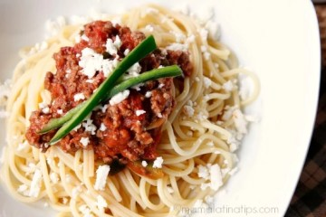 Easy Chipotle Spaghetti with Ground Beef and Cotija Cheese
