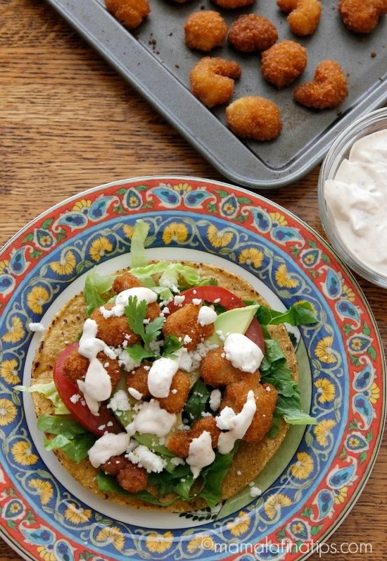 Shrimp tostada with chipotle cream - mamalatinatips.com