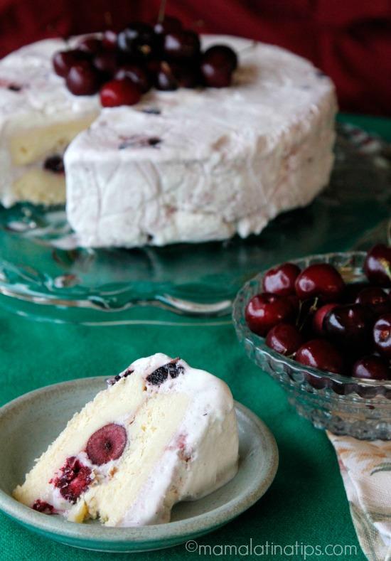 Cherry Vanilla-3 leches ice cream cake (slice) by mamalatinatips.com