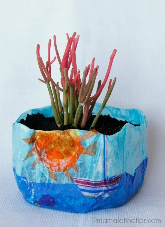 DIY Colorful Planter made with a milk jug by mamalatinatips.com
