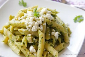 Penne pasta with salsa verde by mamalatinatips.com