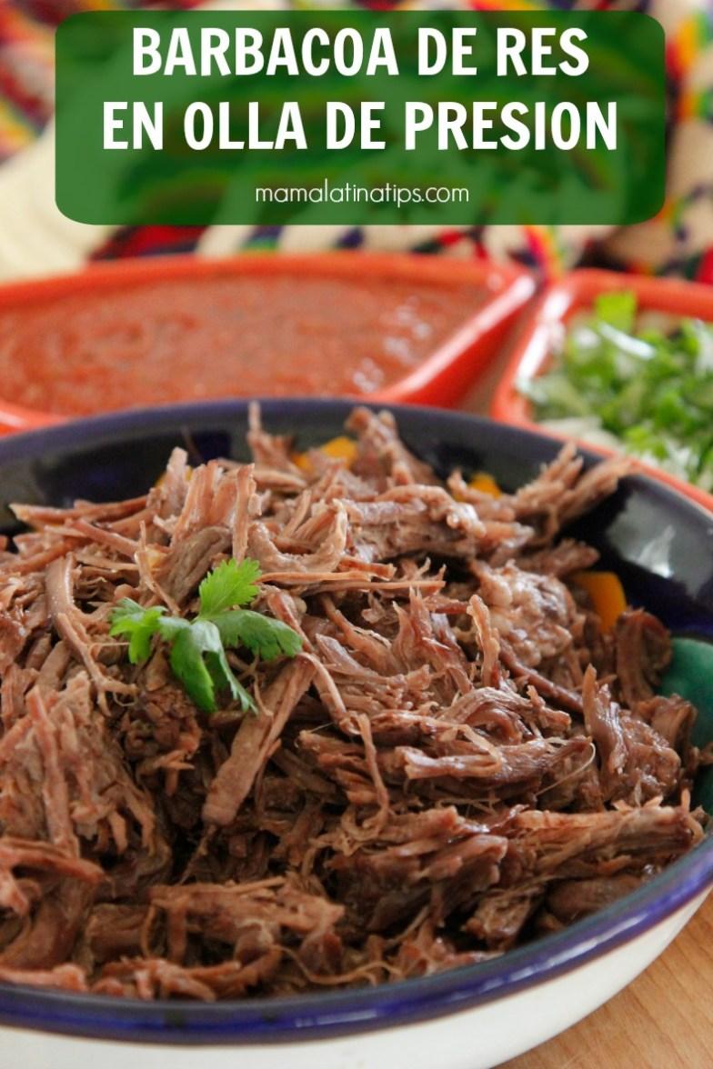 Esta deliciosa barbacoa de res está hecha con sólo 8 ingredientes. Facilísima de preparar. Cocerla en la olla express u olla de presión ahorra mucho tiempo. #barbacoa #comidamexicana #tacos #ollaexpress #olladepresion #mamalatinatips