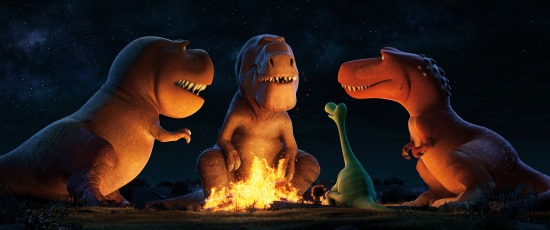 A TRIO OF T-REXES - An Apatosaurus named Arlo must face his fears (and three impressive T-Rexes) in Disney•Pixar's THE GOOD DINOSAUR. Featuring the voices of AJ Buckley, Anna Paquin and Sam Elliott as the T-Rexes, THE GOOD DINOSAUR opens in theaters nationwide Nov. 25, 2015. ©2015 Disney•Pixar. All Rights Reserved.