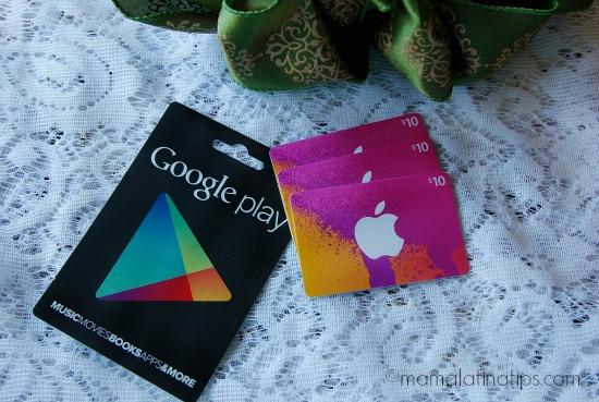 Tarjetas iTunes y Google Play