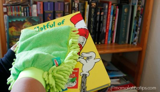 Dusting a book - mamalatinatips.com