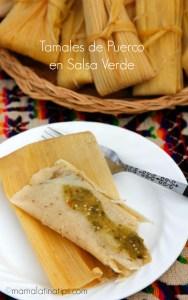 Tamales de puerco en salsa verde by mamalatinatips.com