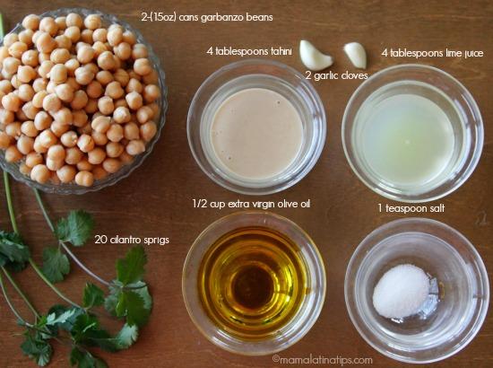 Cilantro hummus ingredients - mamalatinatips.com