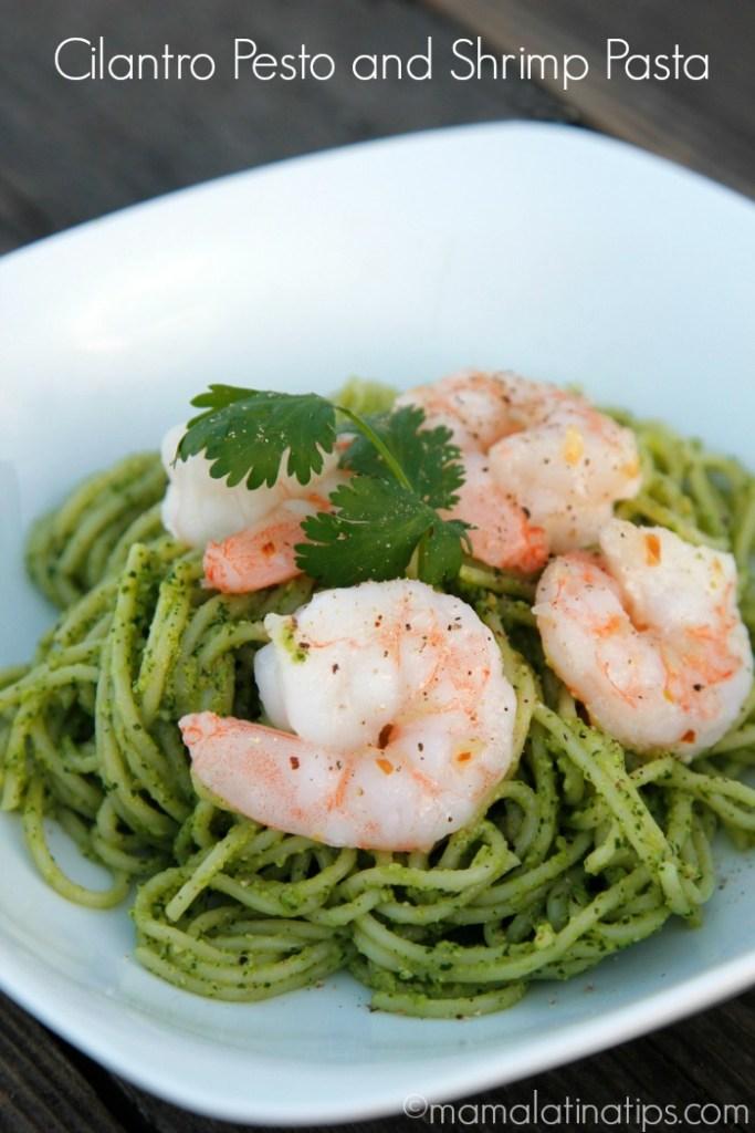 Cilantro Pesto and Shrimp Pasta