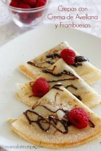 Crepas con crema de avellana y frambuesas - mamalatinatips.com