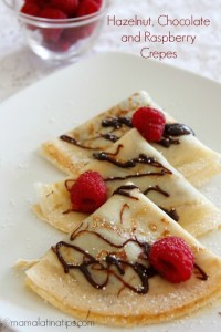 hazelnut, chocolate, and raspberry crepes