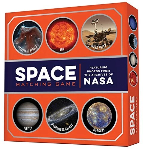 space matching game with pictures of NASA
