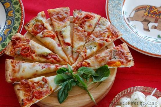 Bon Apetit Pesto, Mozzarella and Tomato Pizza - mamalatinatips.com