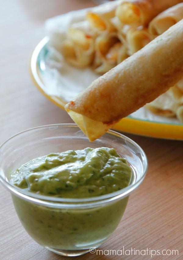 Potato flautas and avocado salsa by mamalatinatips.com