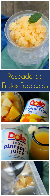 Este refrescante y delicioso raspado de Frutas Tropicales se prepara con sólo 4 ingredientes. Una manera fácil, divertida y exquisita de añadir frutas al menú diario de chicos y grandes. ¡Pruébalo!