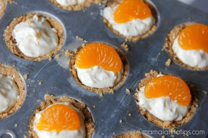 mandarin orange no bake tarts in pan