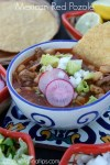 Mexican red pozole with pork with fixings