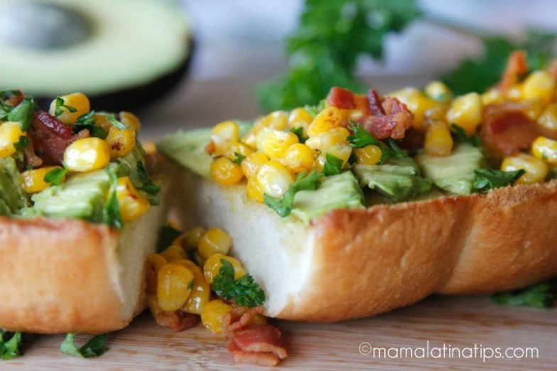 Bacon Avocado Garlic Toast with Corn (piece) mamalatinatips.com