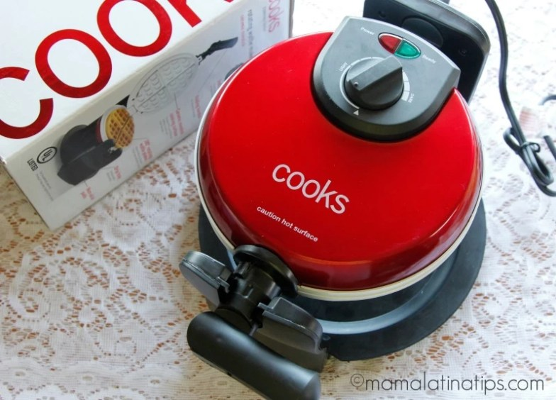 Cooks waffle maker red for Easter waffles by mamalatinatips.com