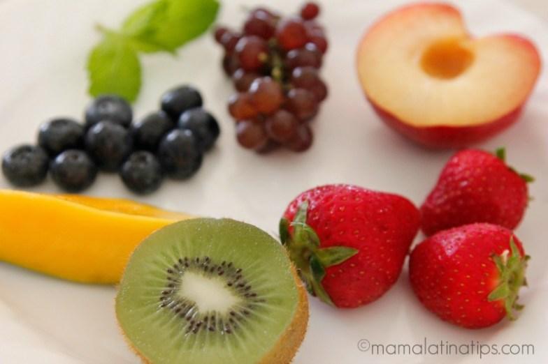 kiwi, strawberries, grapes, mango, nectarines and blueberries by mamalatinatips.com