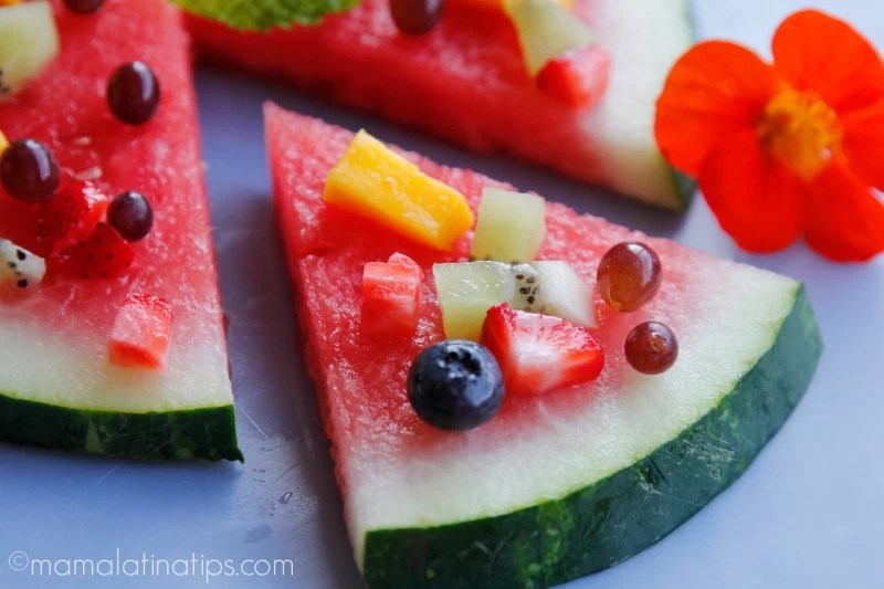 watermelon pizza slice by mamalatinatips.com