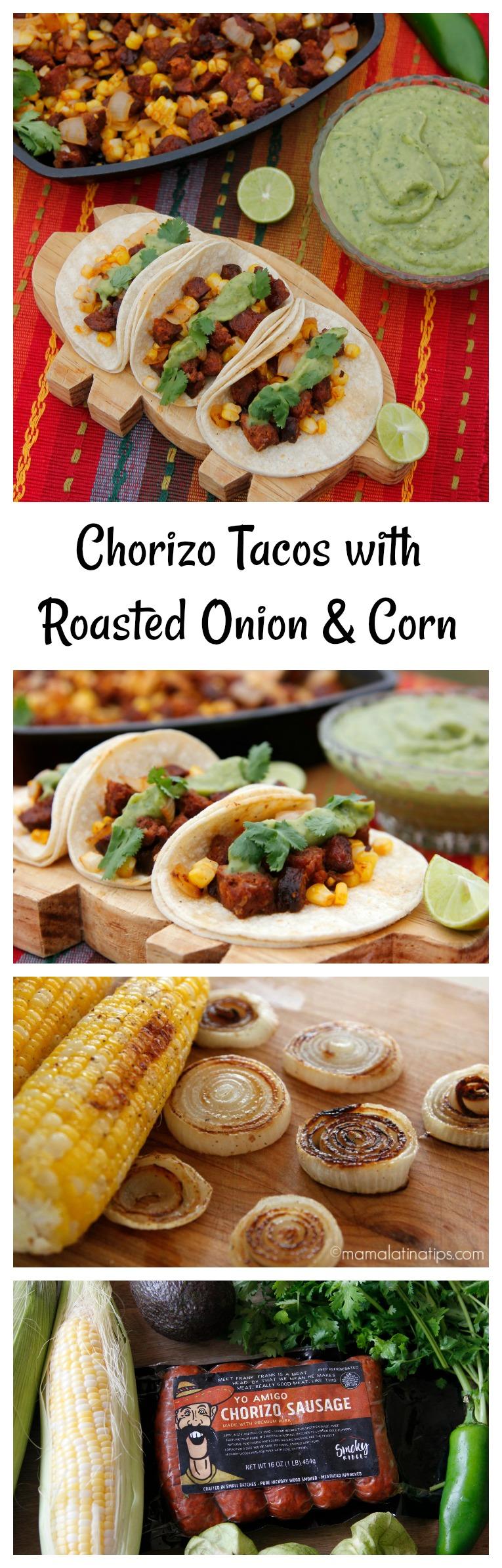 Chorizo tacos with roasted onion, corn and avocado salsa