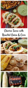 Chorizo tacos with roasted onion, corn and avocado salsa