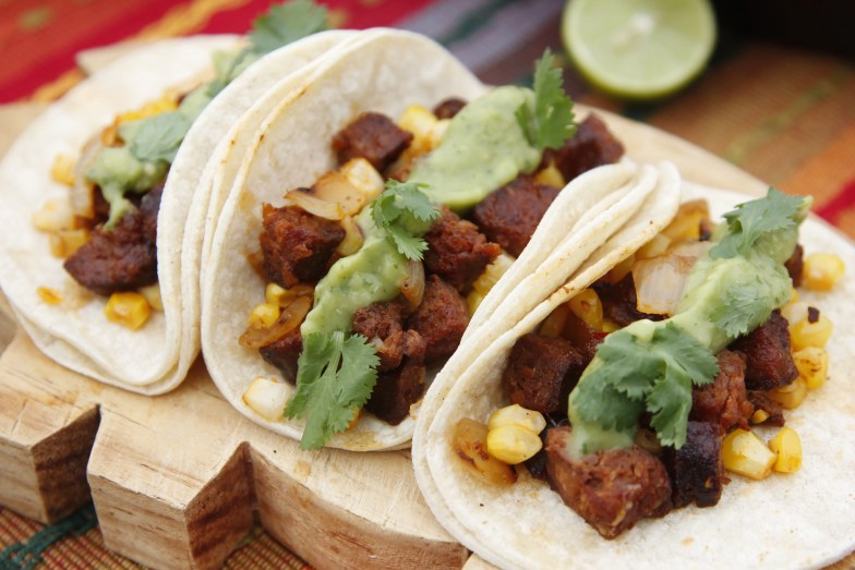 Chorizo tacos with green salsa