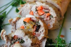 Lomo de cerdo mechado con salsa de chabacano y habanero - mamalatinatips.com
