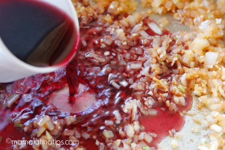 Cebolla acitronada con vino rojo