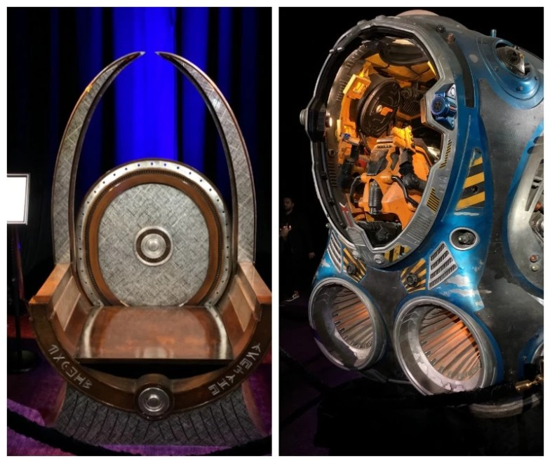 Wakanda's Throne and Guardians of the Galaxy Space Pod at the Avengers: Infinity War World Premier
