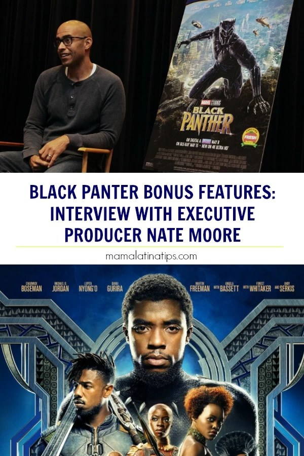 Black Panther Executive Producer Nate Moore talks about the movie and the Black Panther bonus features. Here is what I learned, photos and sneak peek videos. #BlackPanther #Marvel #MarvelMovies