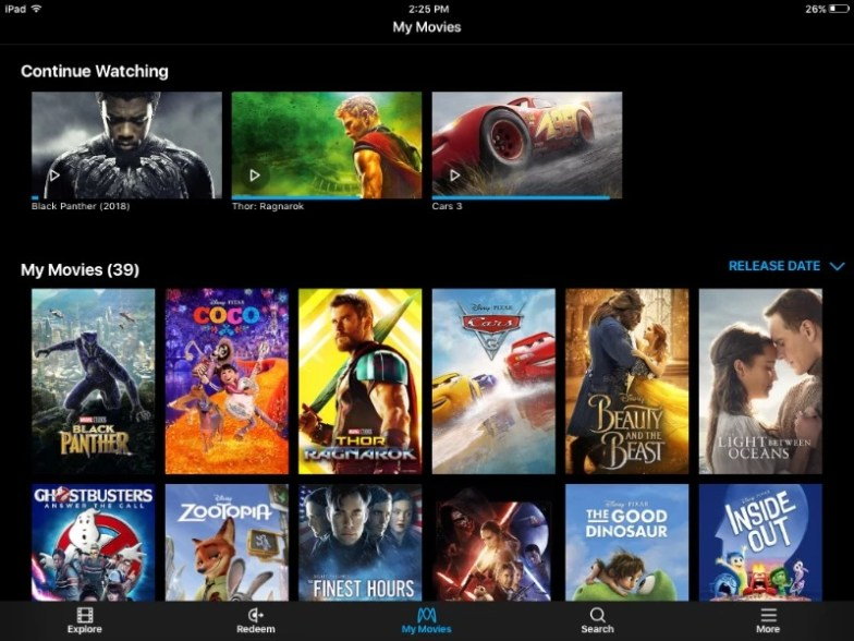 Black Panther inside Movies Anywhere account
