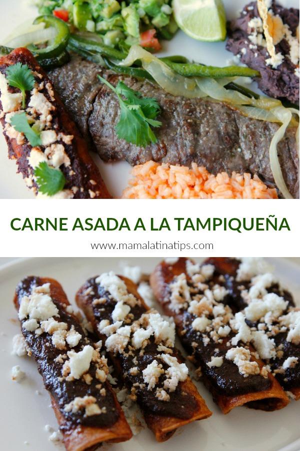 Un platillo tradicional mexicano muy fácil de hacer. El corte de carne es largo y delgado y va a compañado de una enchilada, guacamole, rajas de poblano, arroz y frijoles. Aprende como hacerla y sobre su significado y origen. #comidamexicana #tampiqueña #bistec #carneasadatampiqueña