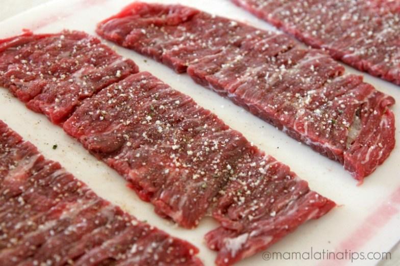 Seasoned long flank steaks